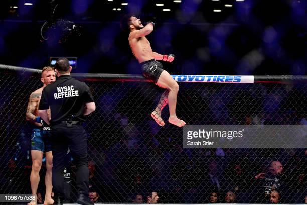 Henry Cejudo reacts after defeating TJ Dillashaw in the first round during their UFC Flyweight title match at UFC Fight Night at Barclays Center on...