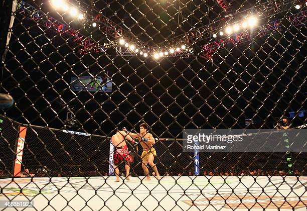 Henry Cejudo right fights with Chris Cariaso during the UFC 185 event at American Airlines Center on March 14 2015 in Dallas Texas