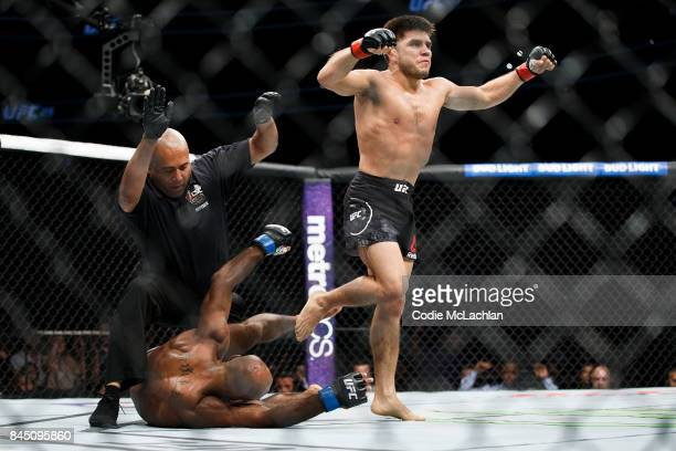 Henry Cejudo top reacts after defeating Wilson Reis during UFC 215 at Rogers Place on September 9 2017 in Edmonton Canada