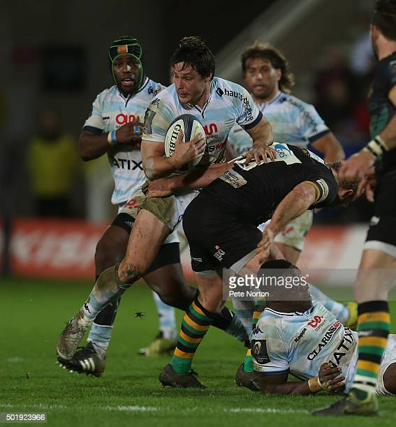 Henry Chavancy of Racing 92 attempts to move forward with the ball during the European Rugby Champions Cup match between Northampton Saints and...