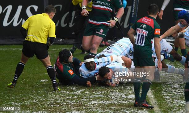 Henry Chavancy pushes over for the first Racing try during the European Rugby Champions Cup match between Leicester Tigers and Racing 92 at Welford...