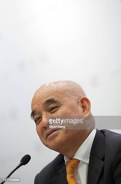 Henry Cheng chairman of Chow Tai Fook Jewellery Group Ltd reacts during a news conference in Hong Kong China on Tuesday June 26 2012 Chow Tai Fook a...