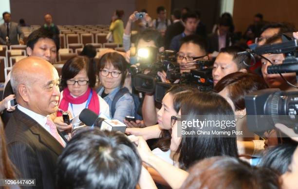Henry Cheng karshun Chairman of Chow Tai Fook talks to the media members after the ceremony to mark the first anniversary of the China Pilot Free...