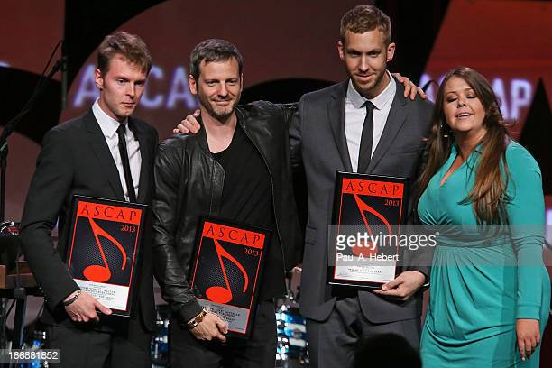 Henry 'Cirkut' Walter Lukasz 'Dr Luke' Gottwald and Max Martin receive an award on stage during the 30th Annual ASCAP Pop Music Awards at Loews...