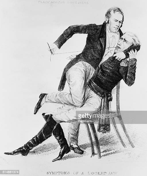 Henry Clay sewing up Andrew Jackson's mouth reference to harassment to which Clay subjected the President whom he considered a dictator Undated...