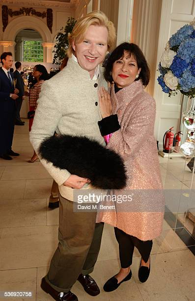 Henry Conway and Rosann Benett attend the launch of British fashion brand Sienna Jones' debut collection 'The Marina Range' at The Orangery,...