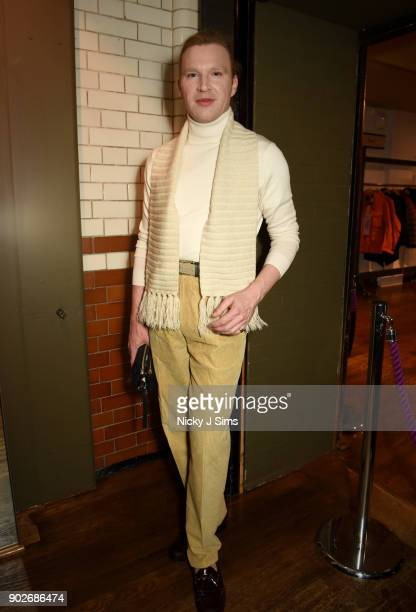 Henry Conway attends luxury emporium Liberty London London Fashion Week Mens Event to celebrate the launch of the Belstaff Origins collection in...