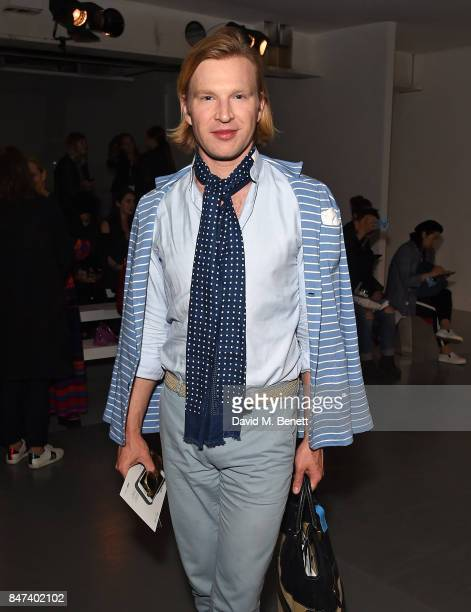 Henry Conway attends the Eudon Choi show during London Fashion Week September 2017 at BFC Show Space on September 15 2017 in London England