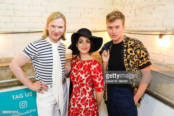 Henry Conway Cassie Bradley and Fletcher Cowan attend the Graduate Fashion Week Gala Show 2018 at The Truman Brewery on June 6 2018 in London England