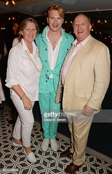Henry Conway poses with parents Colette Conway and Derek Conway attends Henry Conway's birthday at Pont St Restaurant in the Belgraves Hotel on July...
