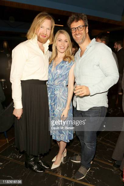 Henry Conway Rachel Parris and Marcus Brigstocke attend a party hosted by Gina Martin and Ryan Whelan to celebrate the Royal ascent into law of the...