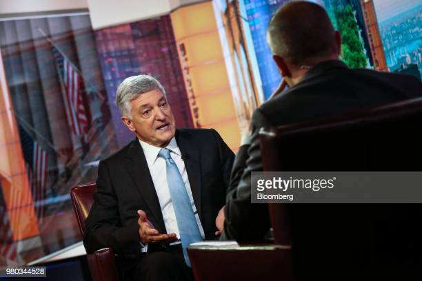 Henry Cornell founder and senior partner of Cornell Capital LLC speaks during a Bloomberg Television interview in New York US on Thursday June 21...