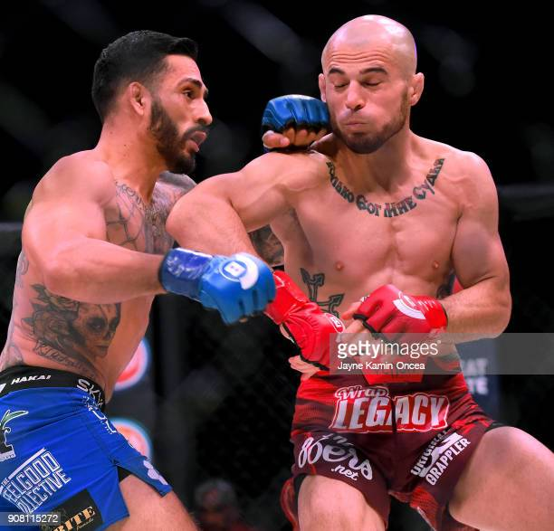 Henry Corrales and Georgi Karakhanyan during the their Featherweight fight at Bellator 192 at The Forum on January 20 2018 in Inglewood California...