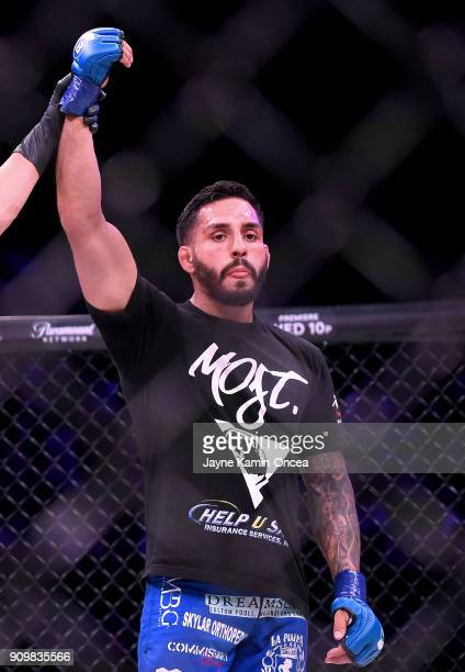Henry Corrales in the cage after defeating Georgi Karakhanyan in their Featherweight fight at Bellator 192 at The Forum on January 20 2018 in...