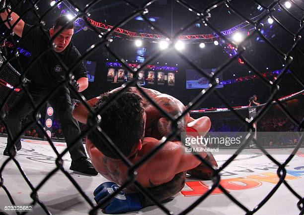 Henry Corrales is submitted via guillotine choke by Patricio Freire during Bellator 153 at Mohegan Sun Arena on April 22, 2016 in Uncasville,...