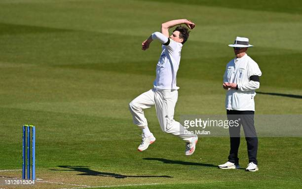 Henry Crocombe of Sussex bowls during day one of the LV= County Championship match between Glamorgan and Sussex at Sophia Gardens on April 15, 2021...