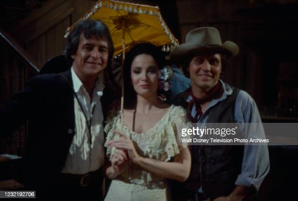 Henry Darrow, Linda Cristal, Ty Hardin appearing in the ABC tv special 'When the West was Fun: A Western Reunion'.