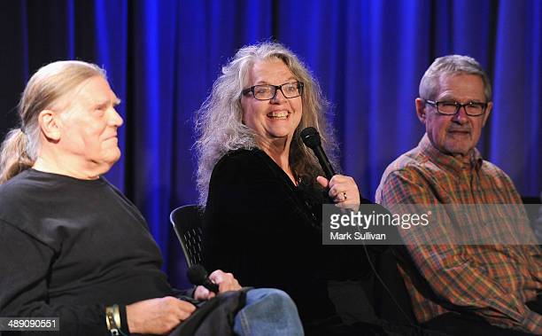 Henry Diltz Gail Zappa and Art Podell onstage during the Sounds Of Laurel Canyon exhibit launch/event at The GRAMMY Museum on May 9 2014 in Los...