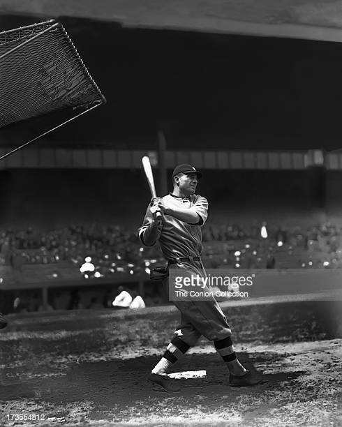 Henry E Manush of the Detroit Tigers swinging a bat in 1924