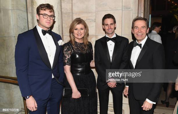 Henry Elkus Arianna Huffington Evan Spiegel and Jeff Koons attend the Berggruen Prize Gala at the New York Public Library on December 14 2017 in New...