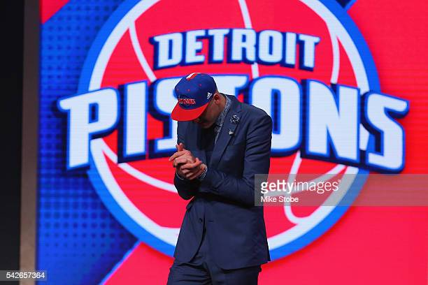 Henry Ellenson celebrates on stage after being drafted 18th overall by the Detroit Pistons in the first round of the 2016 NBA Draft at the Barclays...