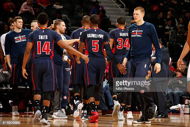 Henry Ellenson of the Detroit Pistons and his teammates huddle before the game against the Milwaukee Bucks on October 30 2016 at The Palace of Auburn...