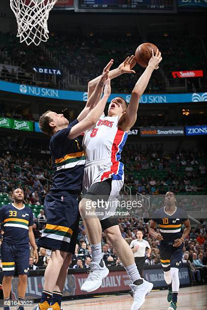 Henry Ellenson of the Detroit Pistons goes up for a shot during a game against the Utah Jazz on January 13 2017 at vivintSmartHome Arena in Salt Lake...