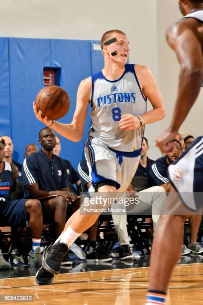 Henry Ellenson of the Detroit Pistons handles the ball against the Oklahoma City Thunder during the 2017 Summer League on July 1 2017 at Amway Center...