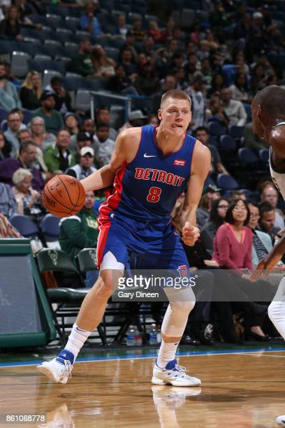 Henry Ellenson of the Detroit Pistons handles the ball against the Milwaukee Bucks on October 13 2017 at the BMO Harris Bradley Center in Milwaukee...