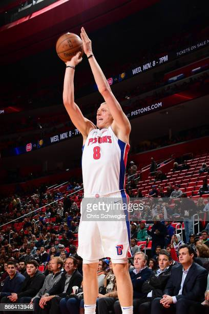 Henry Ellenson of the Detroit Pistons handles the ball against the Minnesota Timberwolves on October 25 2017 at Little Caesars Arena in Detroit...