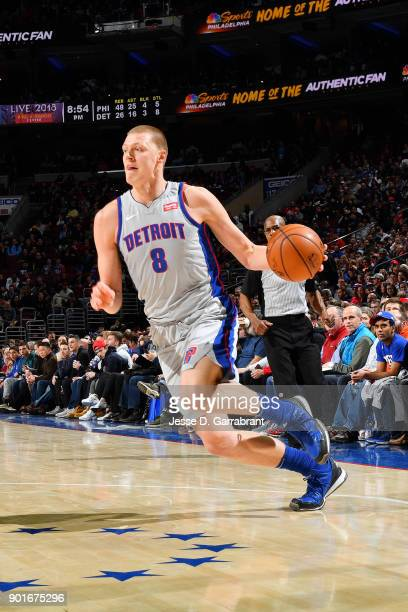 Henry Ellenson of the Detroit Pistons handles the ball during the game against the Philadelphia 76ers on January 5 2018 at Wells Fargo center in...