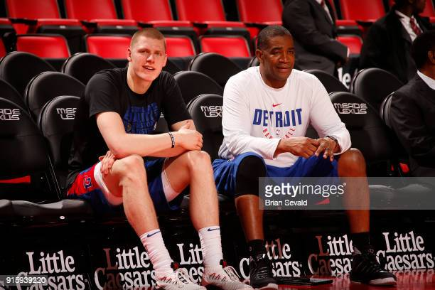 Henry Ellenson of the Detroit Pistons looks on prior to the game against the Portland Trail Blazers on February 5 2018 at Little Caesars Arena in...