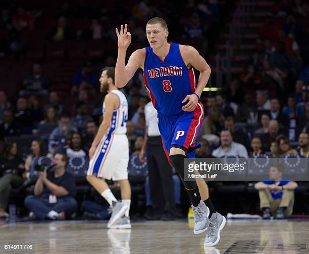 Henry Ellenson of the Detroit Pistons reacts after a made basket against Sergio Rodriguez of the Philadelphia 76ers in the first half at Wells Fargo...