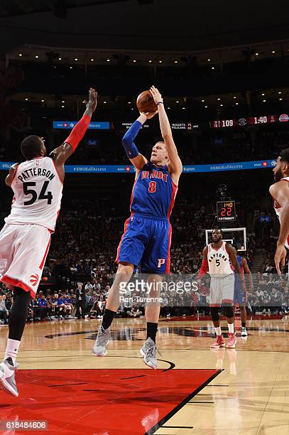 Henry Ellenson of the Detroit Pistons shoots the ball against the Toronto Raptors on October 26 2016 at the Air Canada Centre in Toronto Ontario...