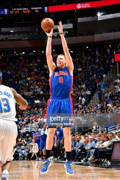 Henry Ellenson of the Detroit Pistons shoots the ball against the Orlando Magic on April 12 2017 at the Amway Center in Orlando Florida NOTE TO USER...