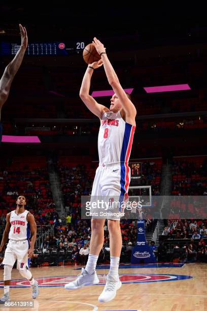 Henry Ellenson of the Detroit Pistons shoots the ball against the Minnesota Timberwolves on October 25 2017 at Little Caesars Arena in Detroit...