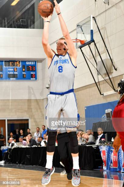 Henry Ellenson of the Detroit Pistons shoots the ball during the game against the Miami Heat during the 2017 Orlando Summer League on July 4 2017 at...
