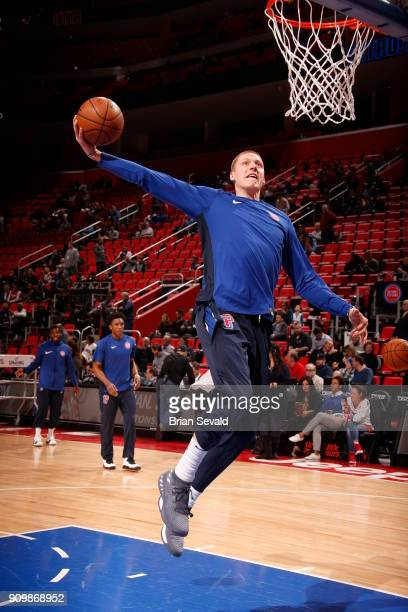 Henry Ellenson of the Detroit Pistons warms up before the game against the Utah Jazz on January 24 2018 at Little Caesars Arena in Detroit Michigan...