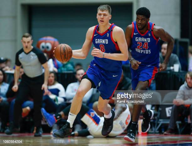 Henry Ellenson of the Grand Rapids Drive brings the ball up court against the Westchester Knicks during the first half of an NBA GLeague game on...