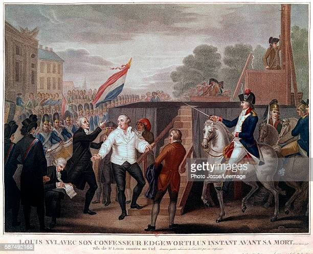 Henry Essex Edgeworth at the execution of King Louis XVI of France, 21 January 1793. Engraving