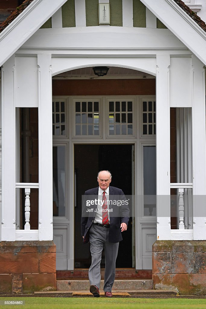 Henry Fairweather, chair of Muirfield Golf Club leaves the clubhouse on May 19, 2016 in Gullane, Scotland. Muirfield Golf Club has lost the right to host the Open Championship after it failed to rally a majority of male members behind the vote allowing women to join the club as members. Women are welcome on the course and the clubhouse as guests and visitors.