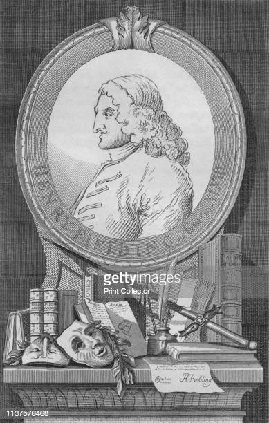 Henry Fielding' circa 1754 Portrait of English novelist and dramatist Henry Fielding above a shelf containing a quill pen and inkwell the masks of...