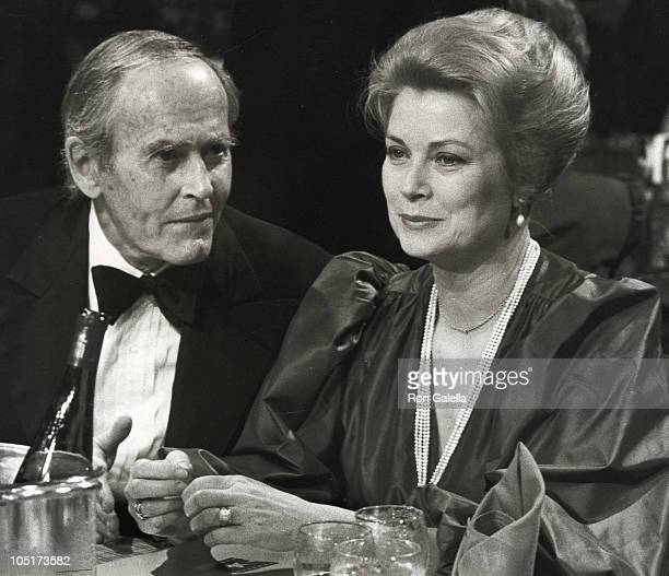 Henry Fonda and Shirlee Fonda during AFI Salute to James Stewart at The Beverly Hilton Hotel in Beverly hills California United States