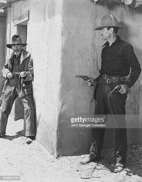 Henry Fonda as Wyatt Earp and Walter Brennan as Old Man Clanton in a scene from the 20th CenturyFox Production 'My Darling Clementine' 1946