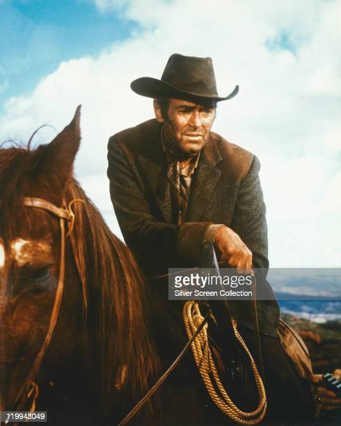 Henry Fonda US actor on horseback in a publicity still issued for the film 'Firecreek' 1968 The western directed by Vincent McEveety starred Fonda as...