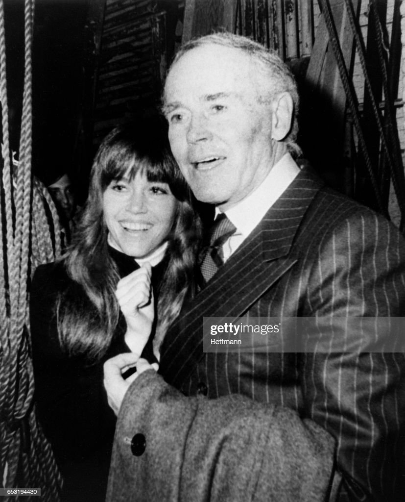 "Henry Fonda, who at 68 is one of the reigning stage and film stars, gets a hug from actress-daughter following preview performance of his one-man play, ""Clarence Darrow"" 3/25. In the play, which opens on Broadway 3/26, Fonda is on stage for two hours by himself."