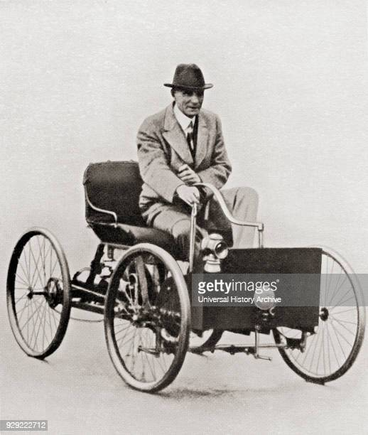 Henry Ford 1863 – 1947 American industrialist founder of the Ford Motor Company seen here in the first Ford car the Ford Quadricycle built in 1896...