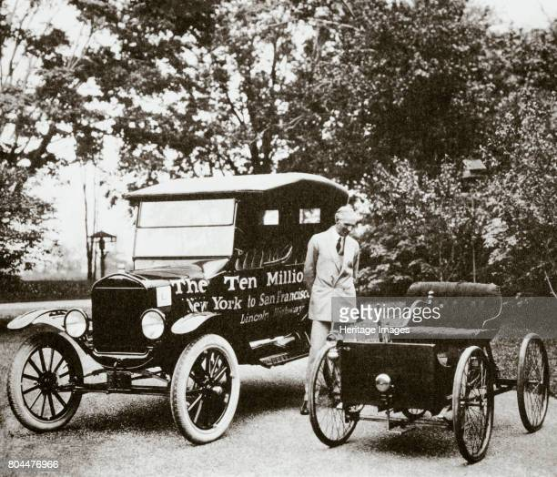 Henry Ford American car manufacturer with two of his cars USA 1924 Ford with his first car and his 10 millionth a Model T Over 15 million Model Ts...