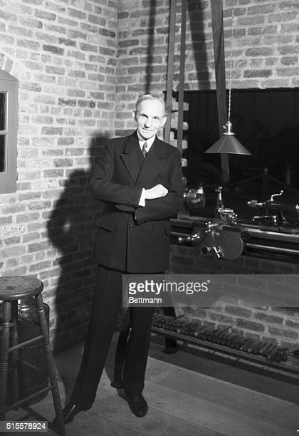 Henry Ford in a model of his original workshop where he originated his first gasoline buggy. Dearborn, MI.