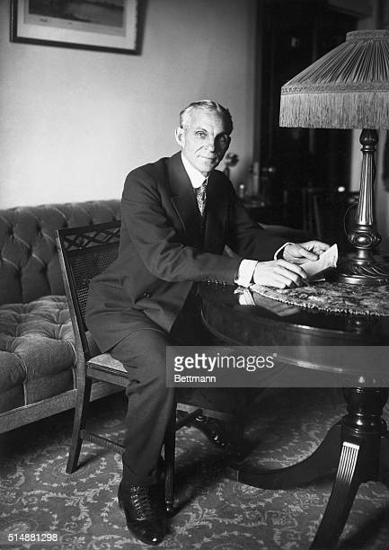Henry Ford in his New York hotel suite on Nov 24 before setting sail on the peace ship Oscar II Photograph